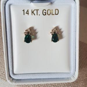 14k Gold Emerald Diamond Stud Earrings